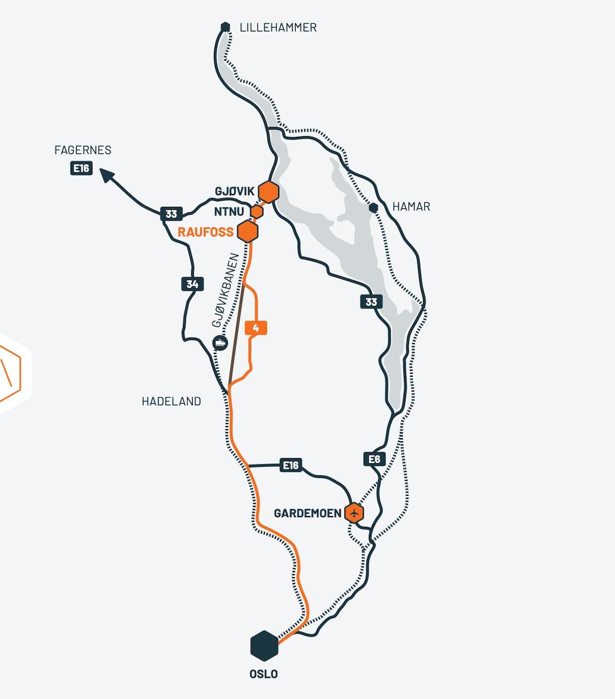 Kart til Raufoss